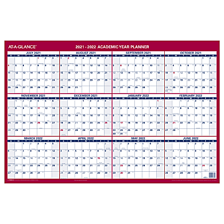 "AT-A-GLANCE® Horizontal Reversible Erasable Academic/Regular-Year Wall Calendar, 36"" x 24"", PM200S28"