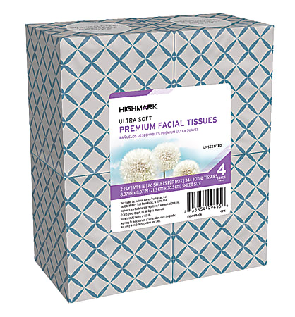 Highmark® 2-Ply Facial Tissue, Cube Box, White, 86 Tissues Per Box, Pack Of 4 Boxes