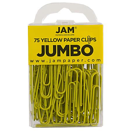 "JAM Paper® Paper Clips, Jumbo, 2"", 25-Sheet Capacity, Yellow, Pack Of 75"