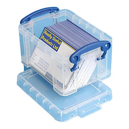 "Really Useful Box® Plastic Storage Box, 0.3 Liter, 4 3/4"" x 3 1/4"" x 2 1/2"", Clear"