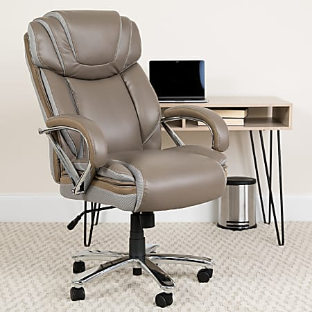 Flash Furniture Hercules Bonded LeatherSoft™ High-Back Big And Tall Ergonomic Office Chair, Taupe/Gray
