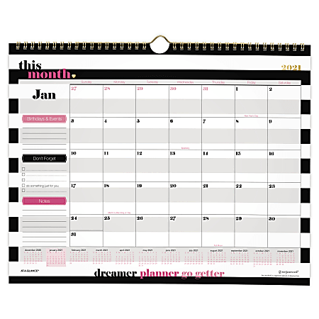 """See Jane Work® AT-A-GLANCE® Monthly Wall Calendar, 15"""" x 12"""", Black/White Stripe, January To December 2021, SJ111-707"""