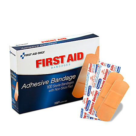 """PhysiciansCare First Aid Plastic Bandages, 1"""" x 3"""", Box Of 100"""