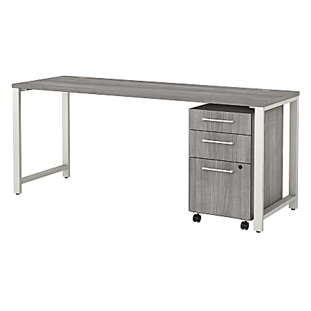 """Bush Business Furniture 400 Series 72""""W x 24""""D Table Desk With 3-Drawer Mobile File Cabinet, Platinum Gray, Premium Installation"""