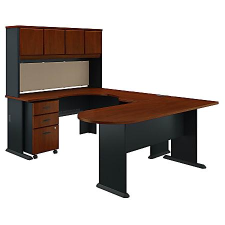 Bush Business Furniture Office Advantage U Shaped Corner Desk With Hutch And Mobile File Cabinet, Hansen Cherry/Galaxy, Standard Delivery