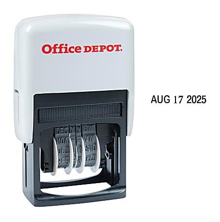 "Office Depot® Brand Date Line Dater Stamp Self-Inking with Extra Pad Date Line Dater  Stamp, 1"" x 3/16"" Impression, Black Ink"