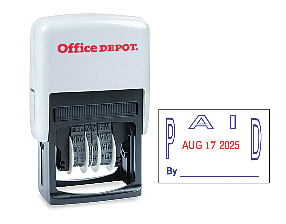 """Office Depot® Brand Date Paid Dater Stamp Self-Inking with Extra Pad Date Paid Dater  Stamp, 1"""" x 1-3/4"""" Impression, Red and Blue Ink"""