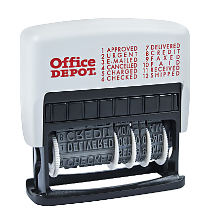 """Office Depot® Brand Self-Inking 12-in-1 Micro Message Stamp Dater, 1-1/16"""" x 5/32 Impression, Black Ink"""