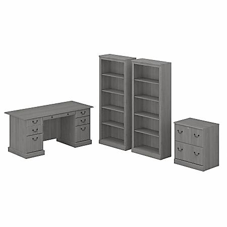 "Bush Furniture Saratoga 66""W Executive Desk With File Cabinet And 5-Shelf Bookcase Set, Modern Gray, Standard Delivery"