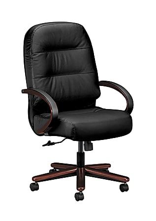 HON® Pillow-Soft® Ergonomic Executive Chair, Black/Mahogany