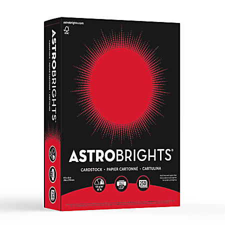 """Astrobrights® Color Card Stock, 8 1/2"""" x 11"""", FSC® Certified, 30% Recycled, 65 Lb, Re-Entry Red, Pack Of 250"""