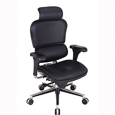 Eurotech Ergohuman Bonded Leather High-Back Chair, Black/Chrome