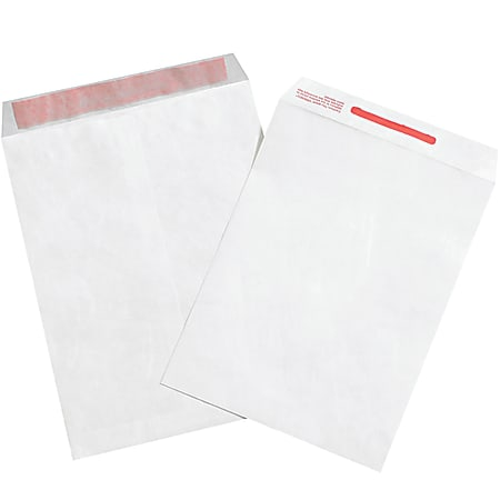 """Office Depot® Brand Tyvek® Tamper-Evident Envelopes, 9"""" x 12"""", White, Case Of 100"""