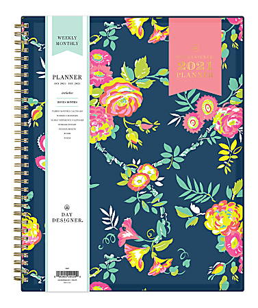 "Blue Sky™ Day Designer Weekly/Monthly Planner, 8-1/2"" x 11"", Peyton Navy, January To December 2021, 103617"