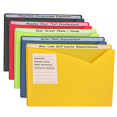 """C-Line Write-On Poly File Jackets, 8-1/2"""" x 11"""", Assorted Colors, Box Of 25 Jackets"""