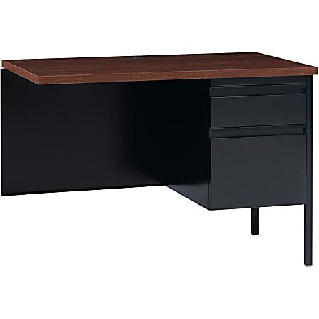 """Lorell® Fortress Series 42""""W Steel Pedestal Return Desk, Right, Black/Walnut"""