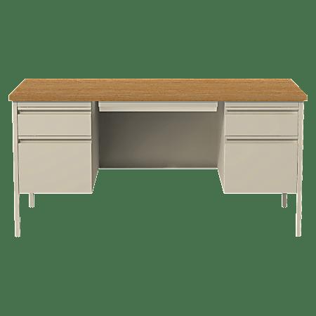 """Lorell® Fortress Series 60""""W Steel Double Pedestal Desk, Putty/Oak"""
