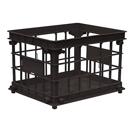Office Depot® Brand Filing/Stacking Crate, Medium Size, Black