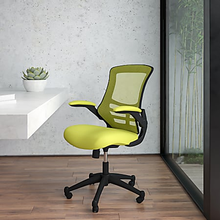 Flash Furniture Mesh Mid-Back Swivel Task Chair With Flip-Up Arms, Green/Black