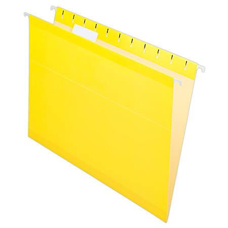 Pendaflex® Premium Reinforced Color Hanging File Folders, Letter Size, Yellow, Pack Of 25 Folders