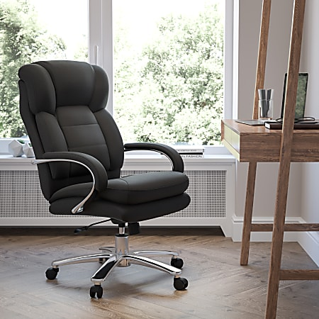 Flash Furniture Hercules 24-7 Intensive Use Big And Tall Office Chair With Loop Arms, Black Ergonomic Fabric/Gray