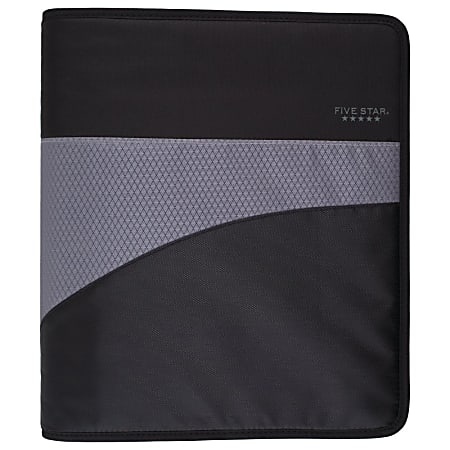 "Five Star® Zipper 3-Ring Binder, 1 1/2"" Round Rings, Black/Gray"