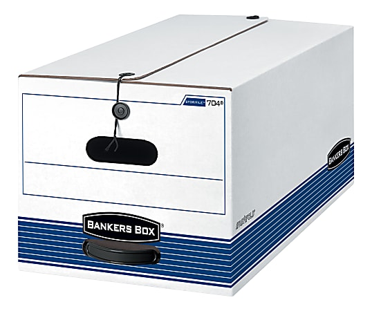 """Bankers Box® Stor/File™ FastFold® Medium-Duty Storage Boxes With Locking Lift-Off Lids And Built-In Handles, Legal Size, 24""""D x 15"""" x 10"""", 60% Recycled, White/Blue, Case Of 4"""