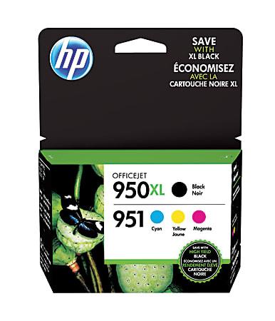 HP 950XL Black And 951 Tricolor Original Ink Cartridges Pack Of 4, C2P01FNM