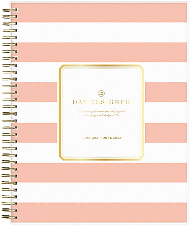 """Blue Sky™ Day Designer Daily/Monthly Planner, 8"""" x 10"""", Rugby Stripe Apricot, July 2021 To June 2022, 127381"""