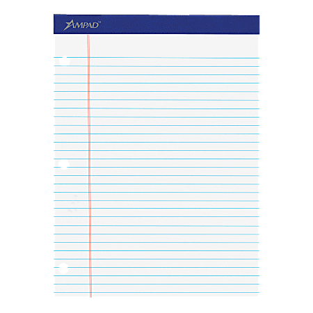 """Ampad® Perforated 3-Hole Punched Dual Writing Pad, Legal Wide Rule, 8 1/2"""" x 11 3/4"""", White, 100 Sheets Per Pad"""
