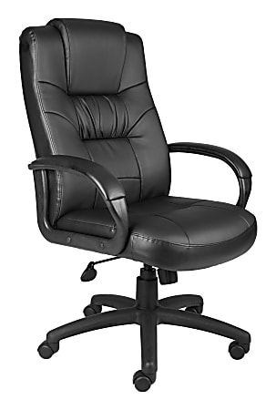 Boss Office Products Silhouette Ergonomic Bonded Leather High-Back Chair, Black