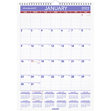 """AT-A-GLANCE® Monthly Wall Calendar, 12"""" x 17"""", Purple/Red, January To December 2022, PM228"""