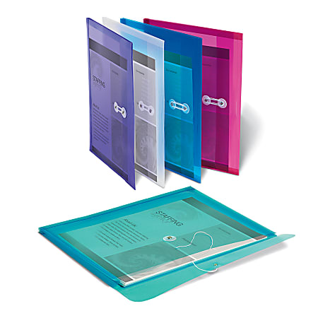 Office Depot® Brand Poly String Envelopes, Letter Size, Assorted Colors, Pack Of 5