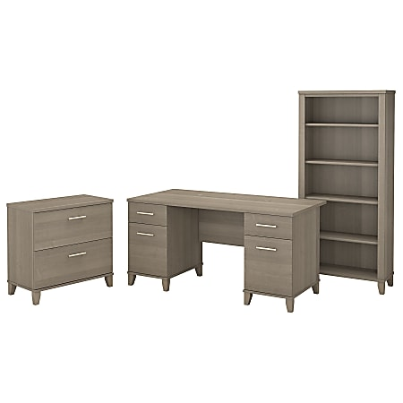 """Bush Furniture Somerset 60""""W Office Desk With Lateral File Cabinet And 5 Shelf Bookcase, Ash Gray, Standard Delivery"""