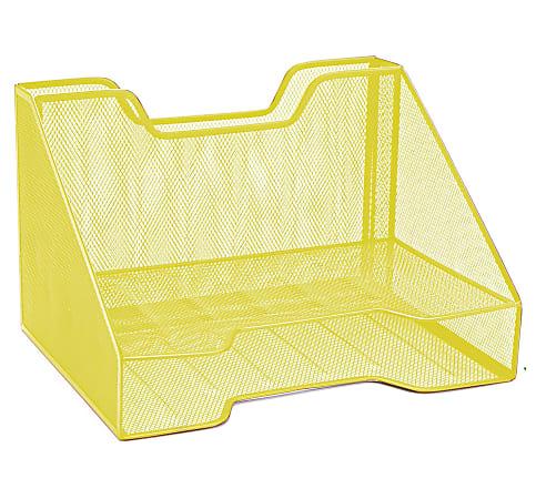 "Mind Reader 3-Compartment Desk Organizer, 8-1/4""H x 12-1/2""W x 9-3/4""D, Yellow"
