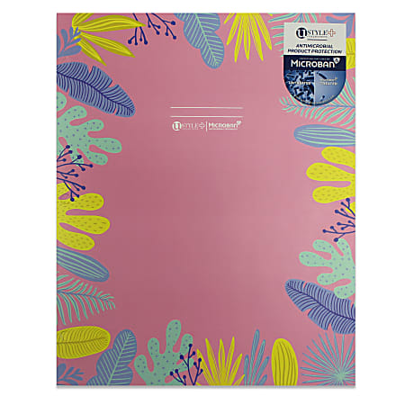 """U Style 2-Pocket Paper Folder With Microban® Antimicrobial Protection, 9-9/16"""" x 11-11/16"""", Pink/Tropical"""