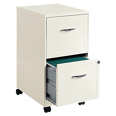 """Lorell® 18""""D Vertical 2-Drawer Mobile File Cabinet, Metal, Pearl White"""
