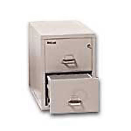 """FireKing® UL 1-Hour 31-5/8""""D Vertical 2-Drawer Letter-Size File Cabinet, Metal, Platinum, White Glove Delivery"""