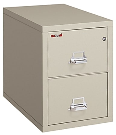 """FireKing® UL 1-Hour 31-5/8""""D Vertical 2-Drawer Legal-Size File Cabinet, Metal, Parchment, White Glove Delivery"""