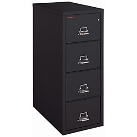 "FireKing® UL 1-Hour 31-5/8""D Vertical 4-Drawer Letter-Size File Cabinet, Metal, Black, White Glove Delivery"