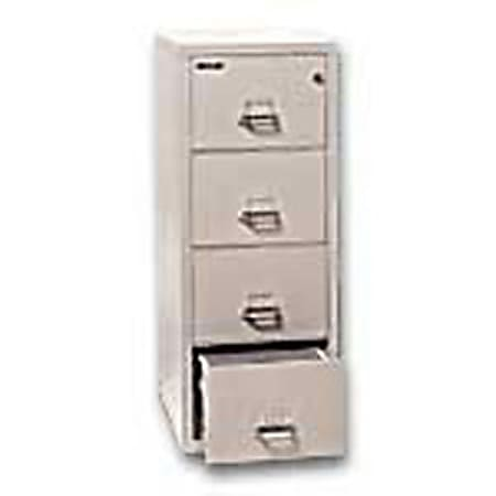 """FireKing® UL 1-Hour 31-5/8""""D Vertical 4-Drawer Letter-Size File Cabinet, Metal, Platinum, White Glove Delivery"""