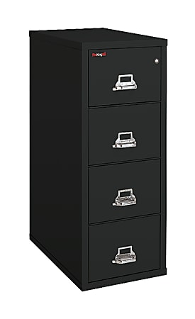 """FireKing® UL 1-Hour 31-5/8""""D Vertical 4-Drawer Legal-Size File Cabinet, Metal, Black, White Glove Delivery"""