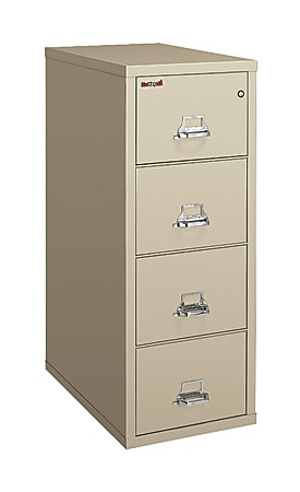 """FireKing® UL 1-Hour 31-5/8""""D Vertical 4-Drawer Legal-Size File Cabinet, Metal, Platinum, White Glove Delivery"""