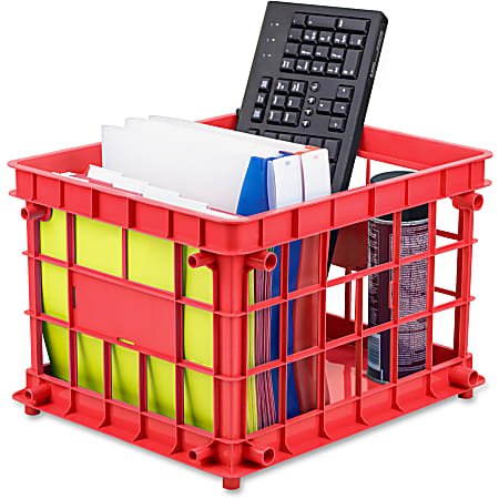 """Storex Storage Crate - External Dimensions: 14.3"""" Width x 17.3"""" Depth x 11.2"""" Height - Stackable - Assorted - For File, Classroom Supplies - Recycled - 3 / Set"""