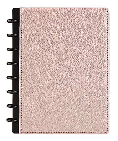 TUL® Discbound Notebook, Elements Collection, Junior Size, Narrow Ruled, 60 Sheets, Rose Gold/Pebbled