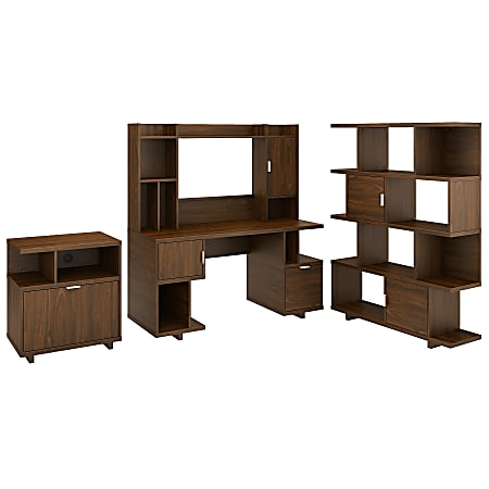 """kathy ireland® Home by Bush Furniture Madison Avenue 60""""W Computer Desk With Hutch/Lateral File Cabinet/Bookcase, Modern Walnut, Standard Delivery"""