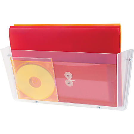 """Deflecto Unbreakable Plastic Wall Pockets - 1 Compartment(s) - 6.5"""" Height x 17.5"""" Width x 3"""" Depth - Wall Mountable - Clear - Plastic - 1Each"""