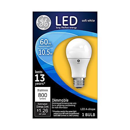 GE A19 Dimmable 800 Lumens LED Light Bulb, 60 Watt, 2700 Kelvin