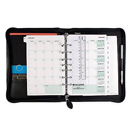 """Day-Timer® Bonded Leather Binder And Starter Set, 5 1/2"""" x 8 1/2"""", Black"""