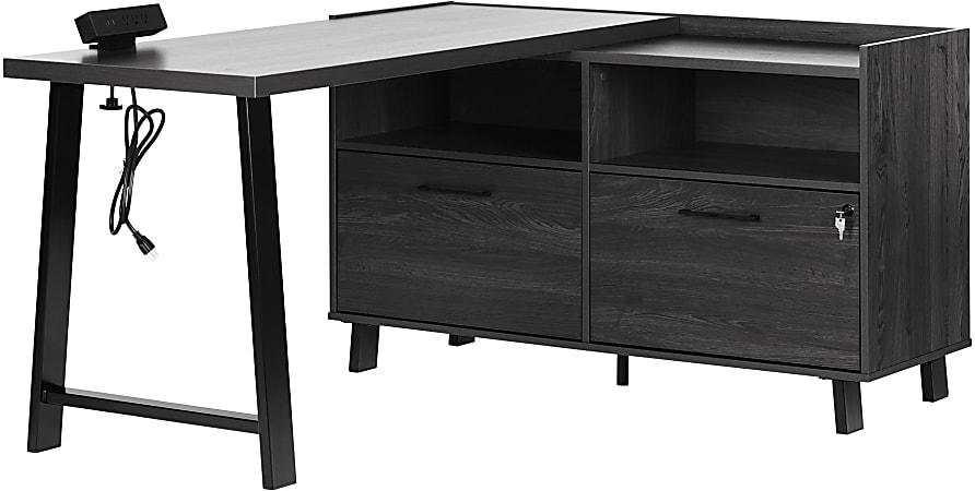 "South Shore Kozack 51""W L-Shaped Desk, Gray Oak"